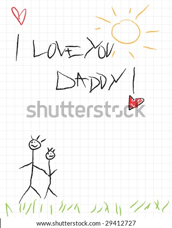I love you daddy, vector card design for father's day in doodle style - stock vector
