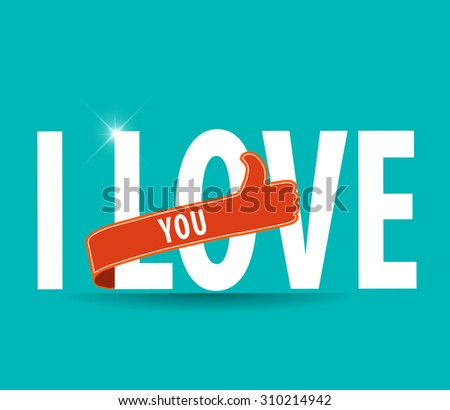 I Love You Hand lettering Greeting Card. Typographical Vector Background - vector eps10 - stock vector
