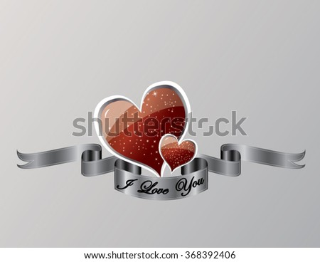 I love you hearts on gray background - stock vector