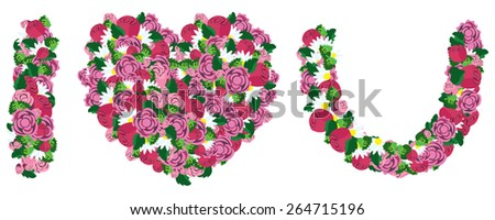 I love you made from heart and flower, love concept, vector - stock vector