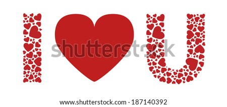 I love you red hearts - stock vector