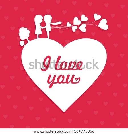 I love you romantic concept with the couple. Vector illustration. - stock vector