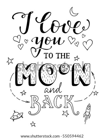 Love you moon back handdrawn lettering stock vector hd royalty free i love you to the moon and back handdrawn lettering valentine save the date thecheapjerseys Image collections