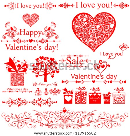 I love you! Valentine's Day. Set of Valentine's calligraphic headlines with hearts. Collection of design elements vintage set isolated on White background. Vector illustration - stock vector
