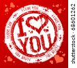 I love you vector rubber stamp. - stock vector