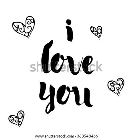 I love you, Wedding postcard. I love you lettering. I love you postcard. I love you vector.  - stock vector
