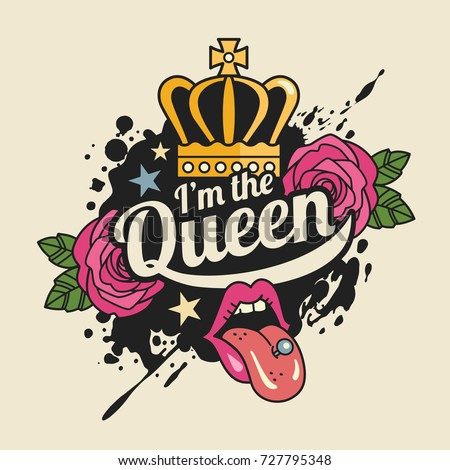 queen tshirt print concept vector illustration stock crown vector graphic crown vector image