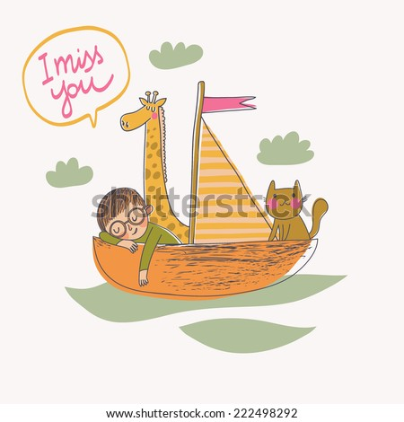 I miss you - concept card in vector. Cartoon illustration with boy, cat and giraffe on the boat - stock vector