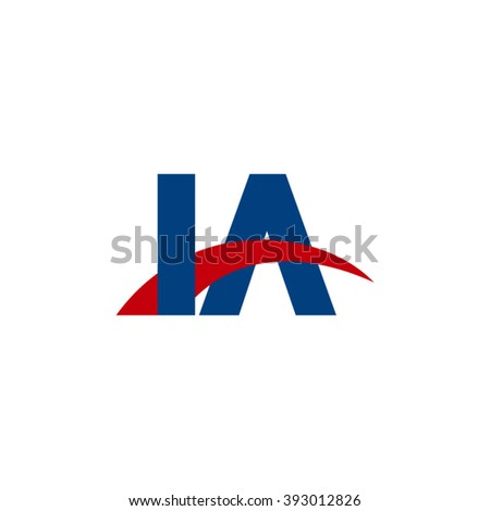 IA initial overlapping swoosh letter logo blue red