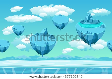 Ice and snow with the ice islands. Seamless game landscape. Cartoon background for games. Snow panorama, game user interface, cold arctic, environment game, flying island, vector illustration - stock vector