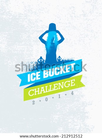 Ice Bucket Challenge Charity Activity. Creative Vector Design Element. - stock vector