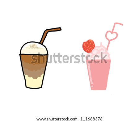 ice coffee caramel  and ice strawberry frappe - stock vector