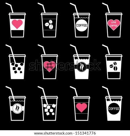 Ice coffee vector icon. - stock vector