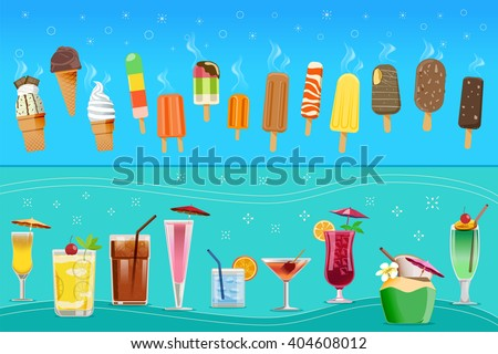 Ice-cream and cocktail concept.Drink and Dessert for the tourist beach.Summer holidays.Cold drinks.Illustrated books and websites about travel to the sea and party.Graphic and vector EPS 10. - stock vector