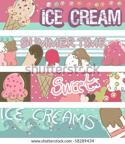 ice cream banners - stock vector