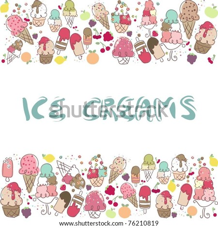ice cream border - stock vector