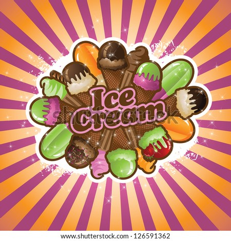 Ice Cream Burst EPS 8 vector, no open shapes or paths, grouped for easy editing.