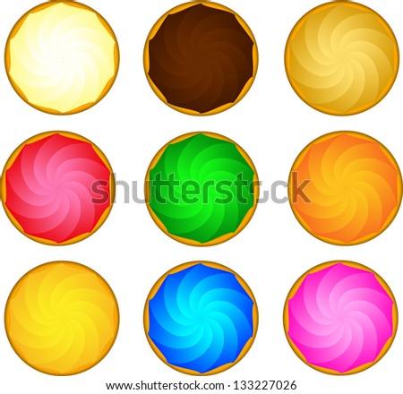 Ice Cream, Cake, candy, Meringue, baiser deserts toppings - stock vector