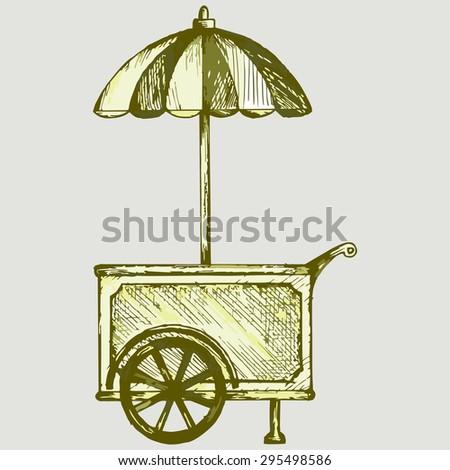 Ice cream cart. Vector Image - stock vector