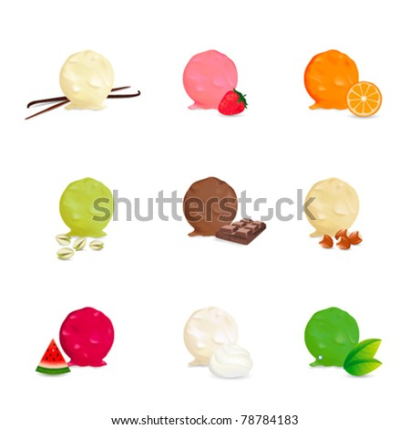 Ice cream collection - Many flavors - stock vector