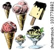 Ice cream colorful collection. Hand drawing sketch vector illustration - stock