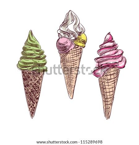 Ice cream colorful collection. Hand drawing sketch vector illustration