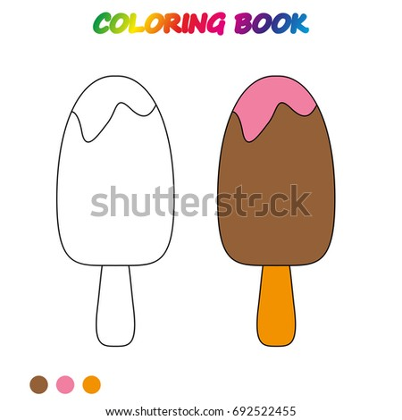 Ice Cream Coloring Page Worksheet Game Stock Vector 692522455