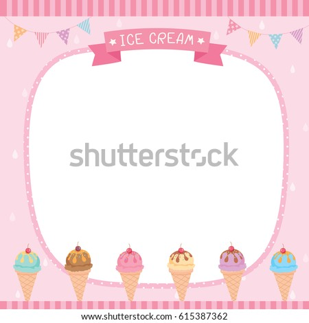 Ice Cream Cone Menu Template Pink Stock Vector 615387362 ...