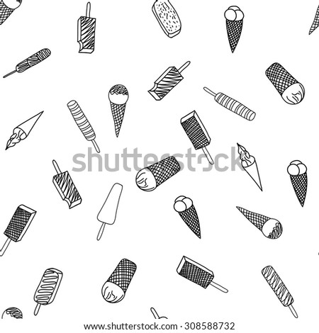 Ice cream cones seamless pattern background - stock vector