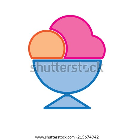 ice cream cup colored vector  - stock vector