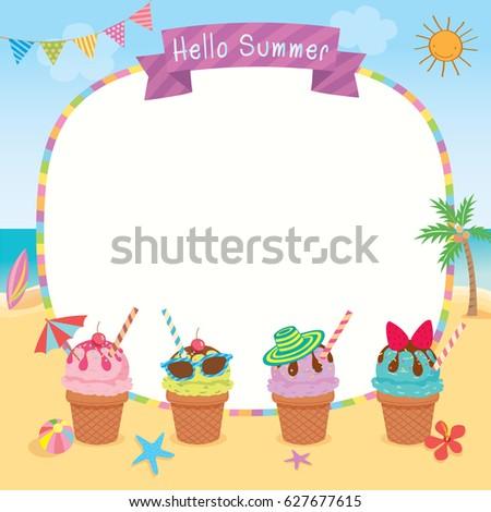 Ice Cream Decorated Summer Season On Stock Photo (Photo, Vector ...