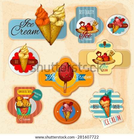 Ice cream delicious frozen dessert paper labels set isolated vector illustration - stock vector