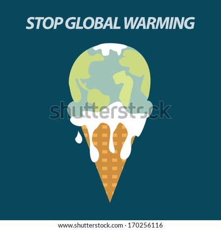 ice cream earth melts - global warming - stock vector