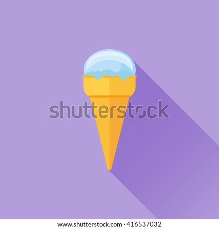 Ice Cream flat icon with long shadow. Vector illustration.