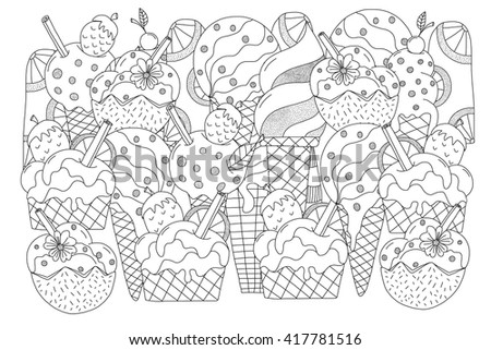 Ice cream. Hand drawn ethnic patterned in doodle, zentangle style. Coloring book page for adults and child- zendala, design for relax and meditation, vector illustration isolated on white background