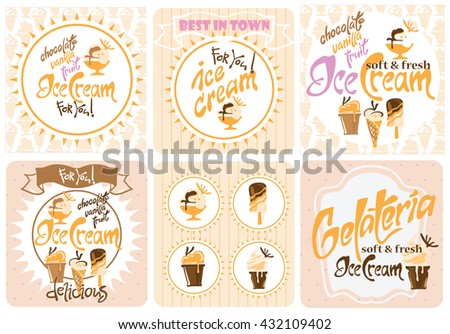 Ice Cream. Ice cream design elements. Vector illustration made in vintage style. Set of Ice Cream banners. - stock vector