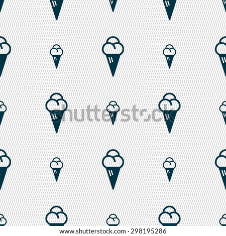 ice cream icon sign. Seamless pattern with geometric texture. Vector illustration - stock vector