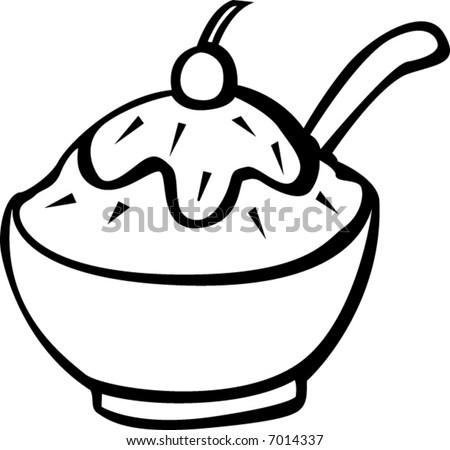 ice cream in a bowl - stock vector