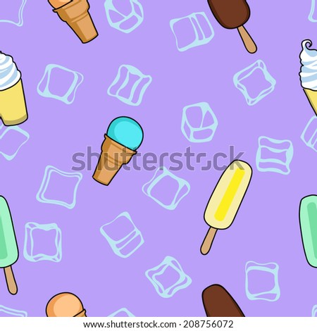 Ice cream lilac textile print food seamless pattern - stock vector