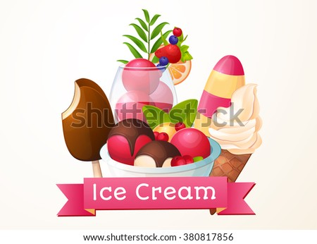 Ice cream, logo, packaging design, sign for the store. - stock vector