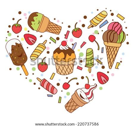 Ice Cream Love Banner - stock vector