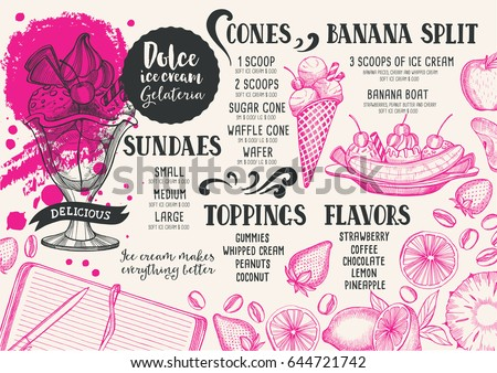 ice cream menu restaurant cafe design stock vector 644721742
