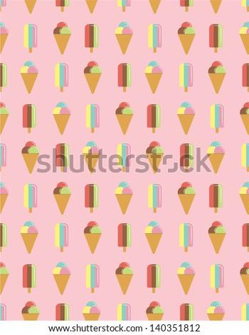 Ice Cream Pattern  - stock vector