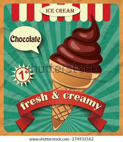 Ice cream poster - stock vector