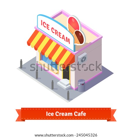 Ice cream restaurant and shop building. Flat and isometric style illustration. EPS 10 vector. - stock vector