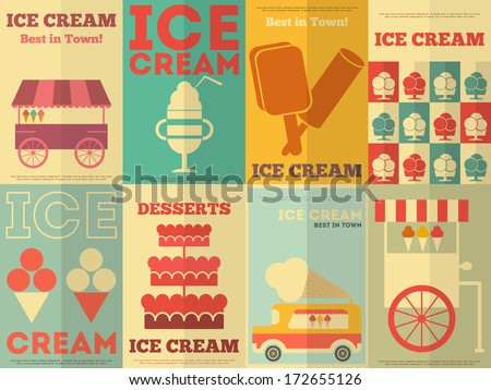 Ice Cream Retro Posters Collection in Flat Design Style. Vector Illustration. - stock vector