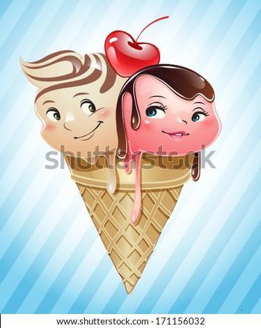 Ice cream scoops in love inside a cone - stock vector
