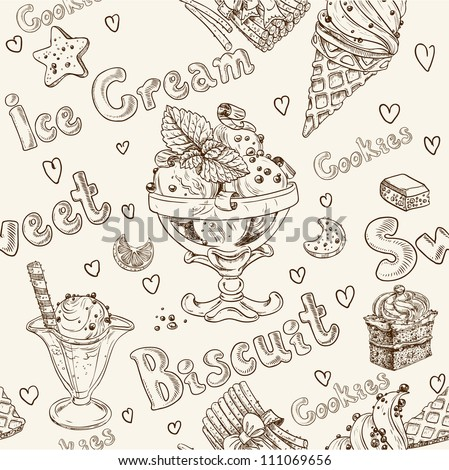 Ice cream seamless background - stock vector