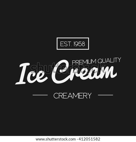 Ice Cream shop Design Labels. Vector Illustration. Retro design element. Vintage Emblem Creamery. Ice Cream and Frozen Yogurt Logos. Summer badges. - stock vector