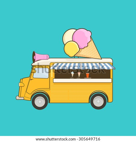 Ice cream truck - stock vector